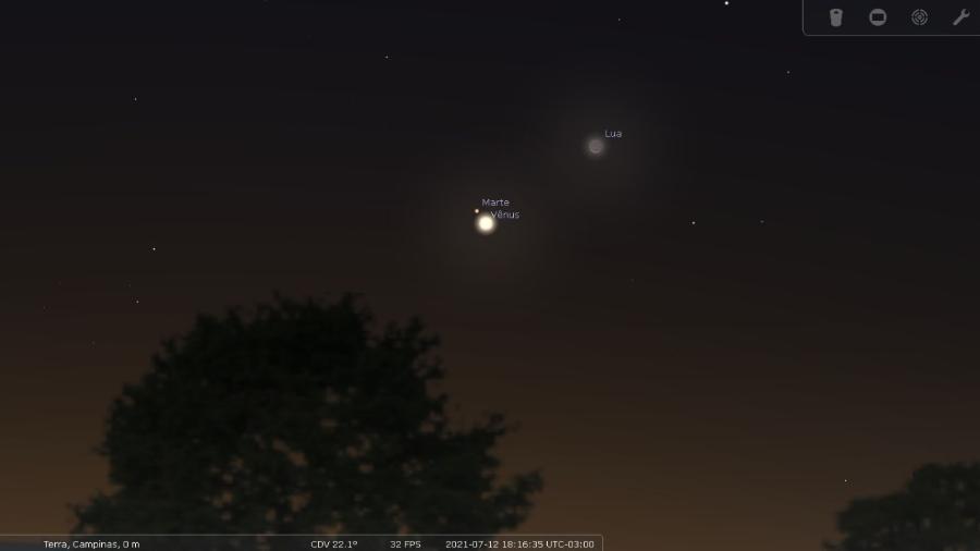 Conjunção entre Vênus e Marte - Julio Lobo/Observatório Municipal de Campinas Jean Nicolini