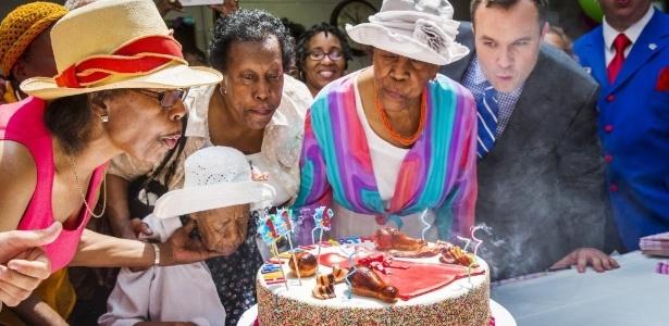 Susannah Mushatt Jones, em comemoração de seu aniversário de 116 anos