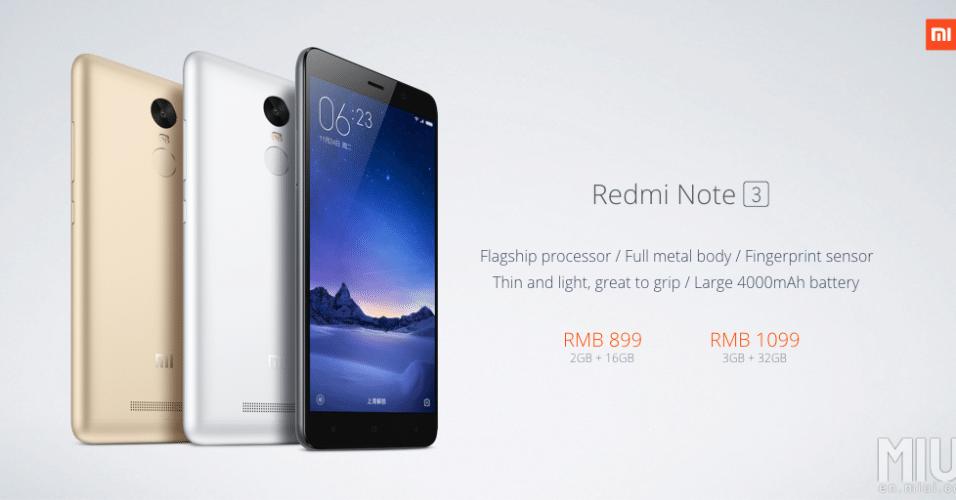 24.nov.2015 - A Xiaomi anunciou na China o smartphone Redmi Note 3. Assim como o Redmi Note 2, o Note 3 tem uma tela de 5,5 polegadas IPS 1080p e roda a MIUI 7, versão atual do Android modificado da Xiaomi. Ele é equipado com um processador Mediatek Helio X10 octa-core e opções de 2GB de RAM e 16GB de armazenamento ou 3GB de RAM com 32GB de armazenamento, além de entrada de cartão microSD. A câmera traseira tem 13 MP e a frontal 5 MP. A primeira grande diferença está na bateria: enquanto o Note 2 tinha 3060 mAh, o Note 3 vem equipado com uma de 4000 mAh. Por enquanto o Redmi Note 3 só tem lançamento confirmado para a China. Lá, ele custará cerca de R$ 520 com 16GB de armazenamento, ou cerca de R$ 630 no modelo de 32GB.