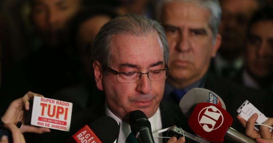 7.jul.2016 - Eduardo Cunha (PMDB-RJ) renuncia à Presidência da Câmara dos Deputados com voz embargada. Ele anunciou a decisão em um pronunciamento. Agora, a Casa tem cinco sessões para realizar novas eleições para o cargo