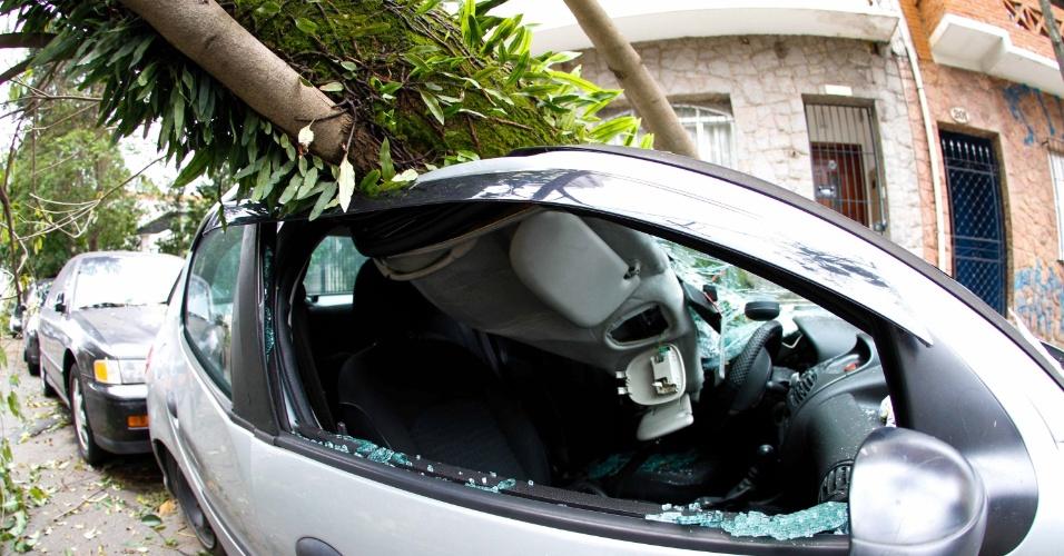 21.out.2016 - Árvores de grande porte caíram sobre carro na rua Marcelina, na Lapa, zona oeste de São Paulo, após forte chuva na capital