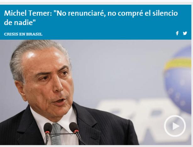 "18.mai.2017 - Topo da edição online do jornal argentino ""La Nación"""