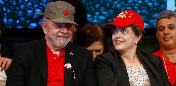 01.jun.2017 - Ex-presidentes Luiz Inácio Lula da Silva e Dilma Rousseff participam da abertura do 6º Congresso do PT