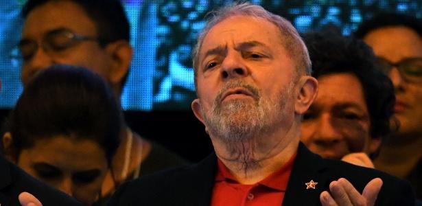 O ex-presidente Lula durante o congresso nacional do PT, no dia 1º