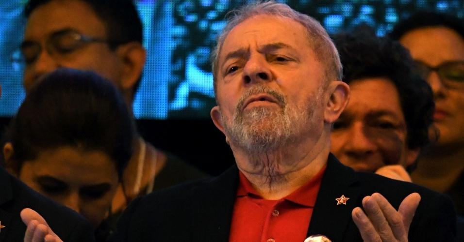 1.jun.2017 - Ex-presidente Luiz Inácio Lula da Silva durante congresso nacional do PT
