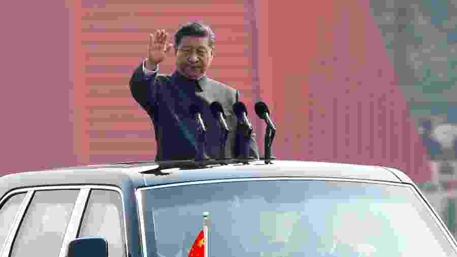 01.out.2019 - O presidente chinês Xi Jinping durante parada militar para comemorar 70º aniversário da revolução - Thomas Peter/Reuters