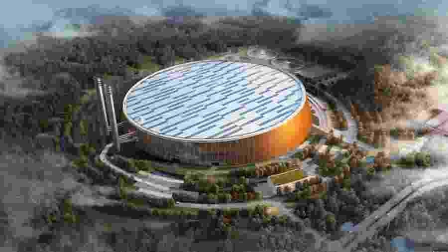 Usina em Shenzhen vai produzir 550 milhões de KWh por ano --ou 45,8 milhões de KWh por mês - Reprodução/YouTube Dezeen