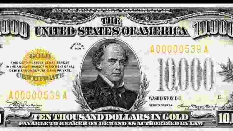 Nota de 10 mil dólares impressa em 1934 - Reprodução - Reprodução