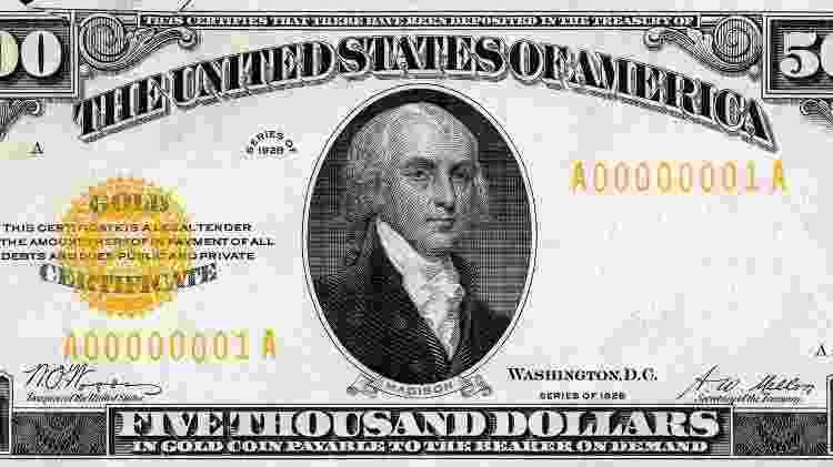 Nota de 5 mil dólares impressa em 1928 - Reprodução - Reprodução