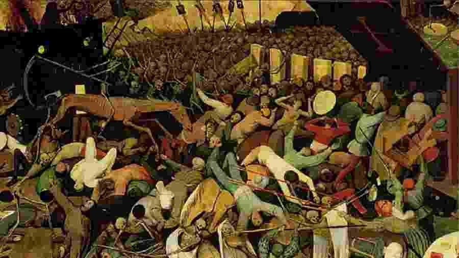 """Detalhe ampliado do quadro """"O Triunfo da Morte"""", de Bruegel. A parte da elite que reclama da correta política de isolamento para este momento da crise prefere ter um Romero Britto na sala e especular sobre a morte dos pobres e pretos - Reprodução"""