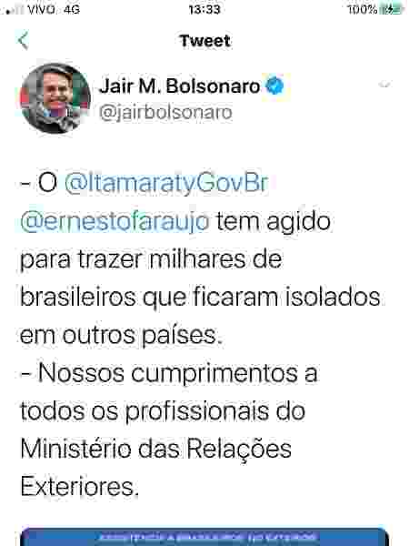 Twitter/Página de Jair Bolsonaro