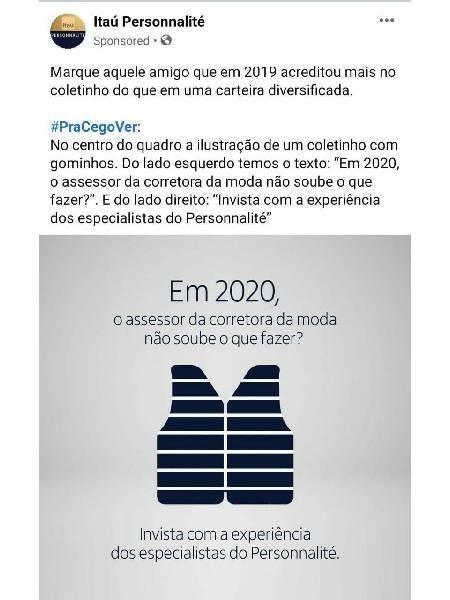 Post patrocinado do Itaú faz piada com corretores  - Reprodução