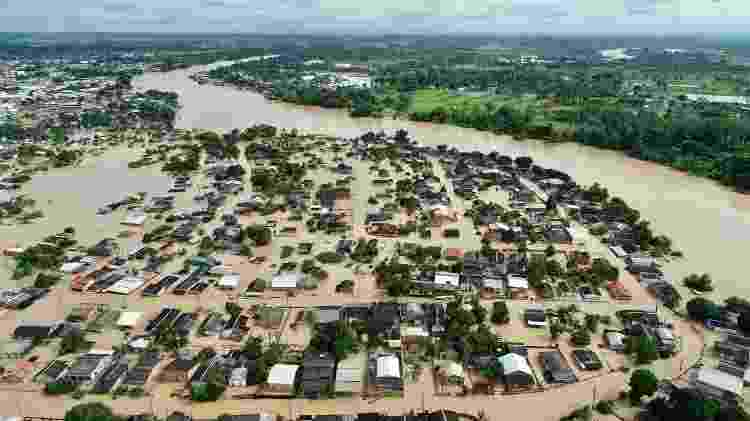 Vista aérea mostra uma das regiões afetadas pelas cheias dos rio no Acre, devido às fortes chuvas no estado - Pedro Devani/Secom - Pedro Devani/Secom