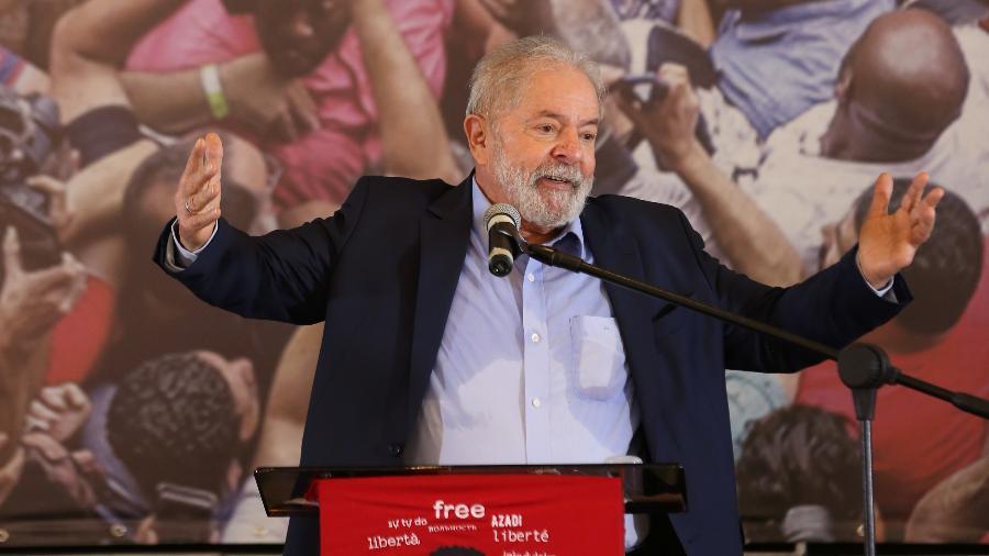O ex-presidente Luiz Inácio Lula da Silva (PT) em primeiro discurso após anulação de todas as suas condenações na Lava Jato - Marcelo D. Sants/Framephoto/Estadão Conteúdo