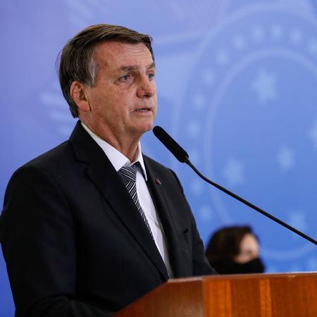 8.abr.2021 - Jair Bolsonaro durante cerimônia de cumprimento aos oficiais generais promovidos em Brasília - Alan Santos/Presidência da República/Divulgação