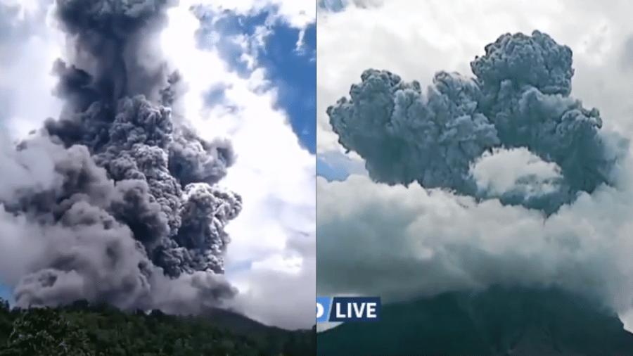 Imagens de hoje do vulcão Sinabung, na Indonésia, em erupção - Redes sociais