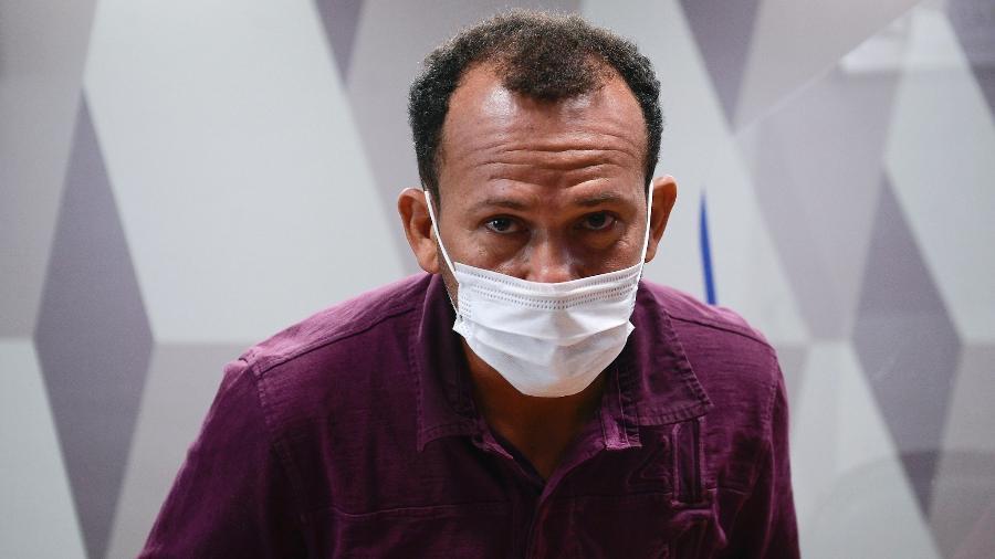 Motoboy da VTClog, Ivanildo Gonçalves, durante depoimento à CPI da Covid - Pedro França/Agência Senado