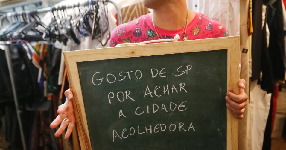 """""""A cidade é muito acolhedora, sempre recebe muito bem quem vem de outros lugares. Não nasci em São Paulo e a maioria das pessoas com quem convivo também não. É um grande ponto de encontros""""."""