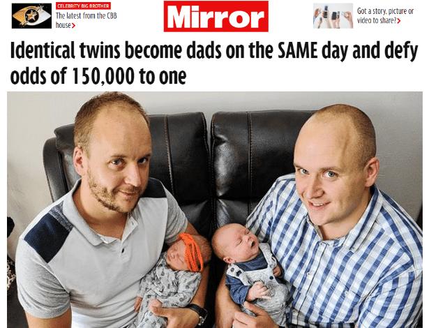 Steven e David Bisset, gêmeos idênticos, tiveram filhos no mesmo dia