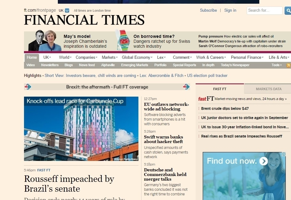 """O impeachment de Dilma em destaque no site do jornal britânico """"Financial Times"""""""