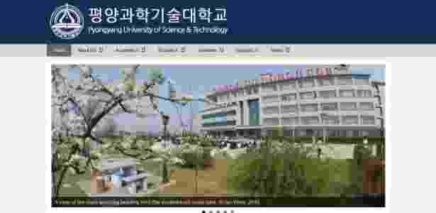 Site da Universidade de Ciência e Tecnologia de Pyongyang (PUST), na Coreia do Norte, retirado do ar após a prisão de dois professores americanos - Reprodução/ Facebook Pyongyang University of Science & Technology - Reprodução/ Facebook Pyongyang University of Science & Technology