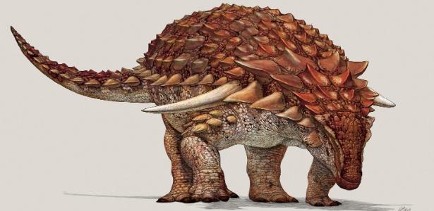 Ilustração do Borealopelta markmitchelli, dinossauro de 110 milhões de anos