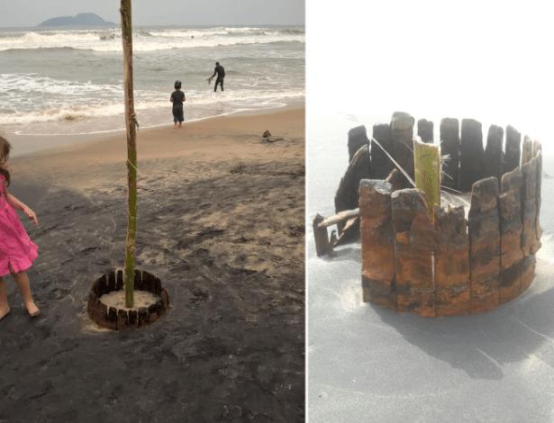 À esquerda, o barril encontrado no domingo. À direita, objeto danificado nesta segunda