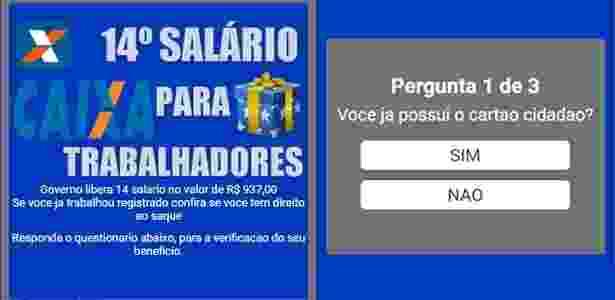 Golpe WhatsApp - Governo Federal libera lote do 14º salário - Reprodução/Psafe - Reprodução/Psafe