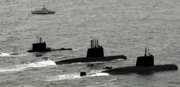 Os três submarinos da Argentina, entre eles o ARA San Juan, que está desaparecido