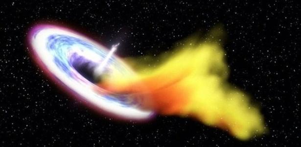Ilustração mostra buraco negro devorando massa de gás