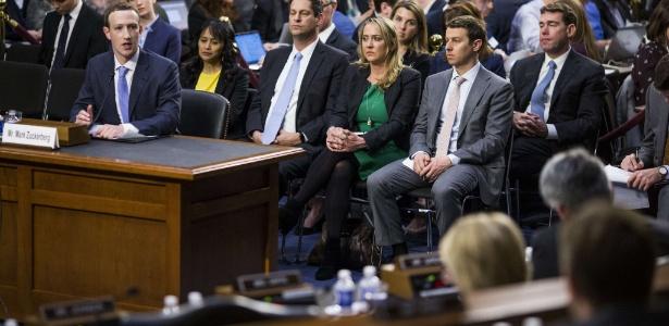 10.abr.2018 - Zuckerberg durante depoimento no Congresso dos Estados Unidos
