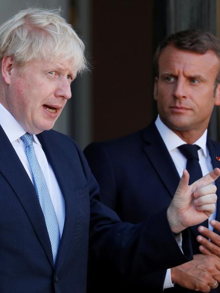 22.08.2019 - O presidente da França, Emmanuel Macron, e o primeiro-ministro do Reino Unido, Boris Johnson, após encontro para discutir o Brexit - Gonzalo Fuentes/Reuters