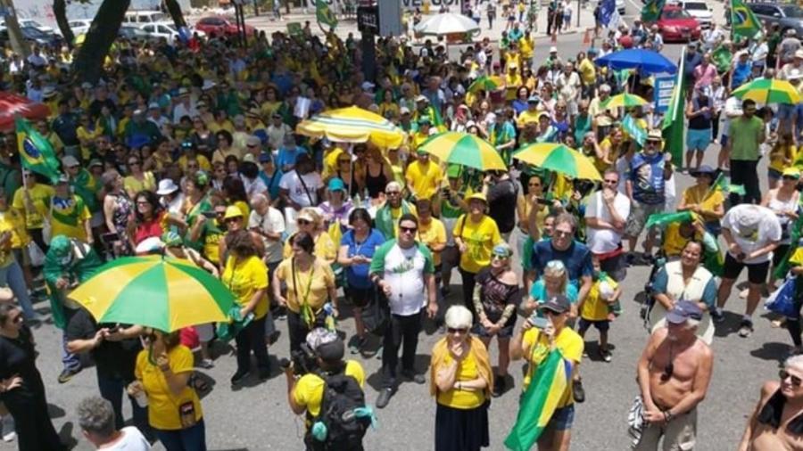 12.set.2019 - Manifestação a favor da prisão em segunda instância no Rio - Twitter/ Vem Pra Rua