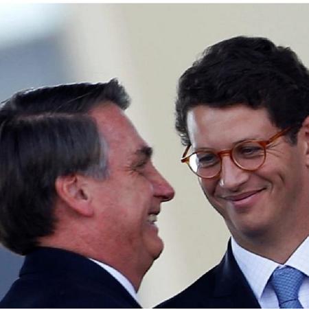 Bolsonaro e Ricardo Salles - sorrisos - Reprodução