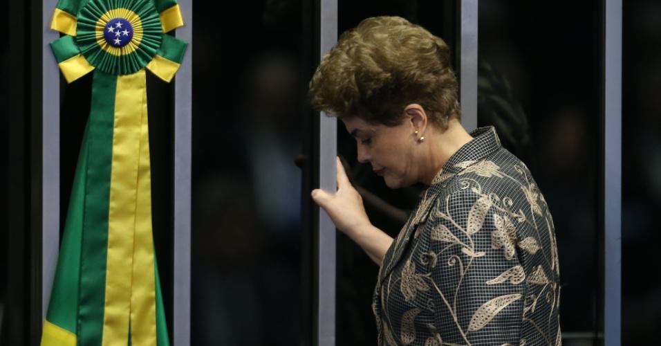 29.ago.2016 - A presidente afastada, Dilma Rousseff, apresenta sua defesa no processo de impeachment no Senado Federal, em Brasília