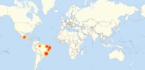 Mapa mostra locais de problemas com WhatsApp