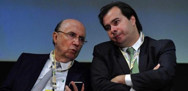 Meirelles e Rodrigo Maia em maio, durante evento em São Paulo