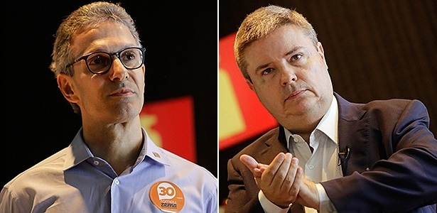 Os candidatos a governador de Minas Romeu Zema Neto (e) e Antonio Anastasia (d)