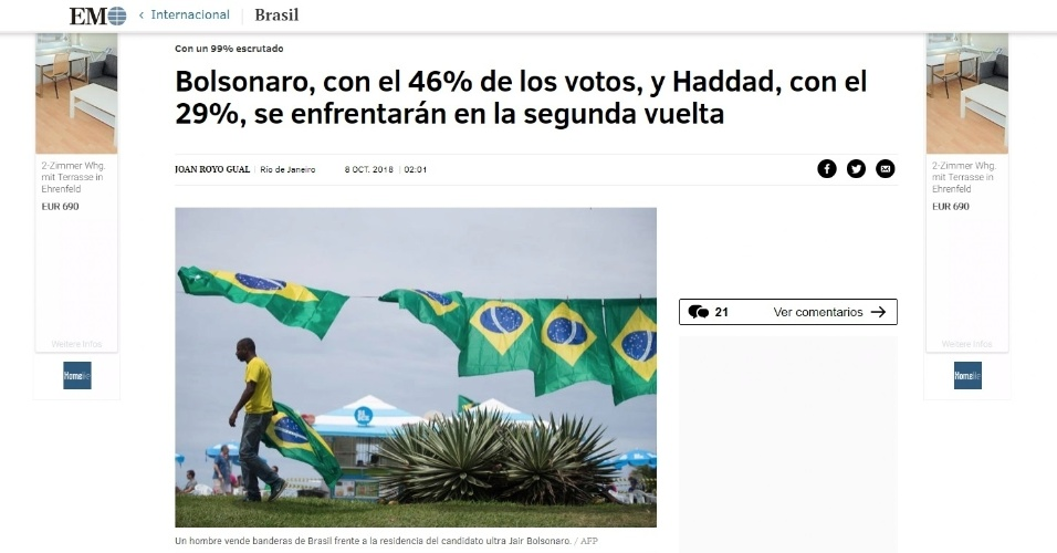 """El Mundo (Espanha): """"(Bolsonaro e Haddad) se enfrentarão no segundo turno"""""""
