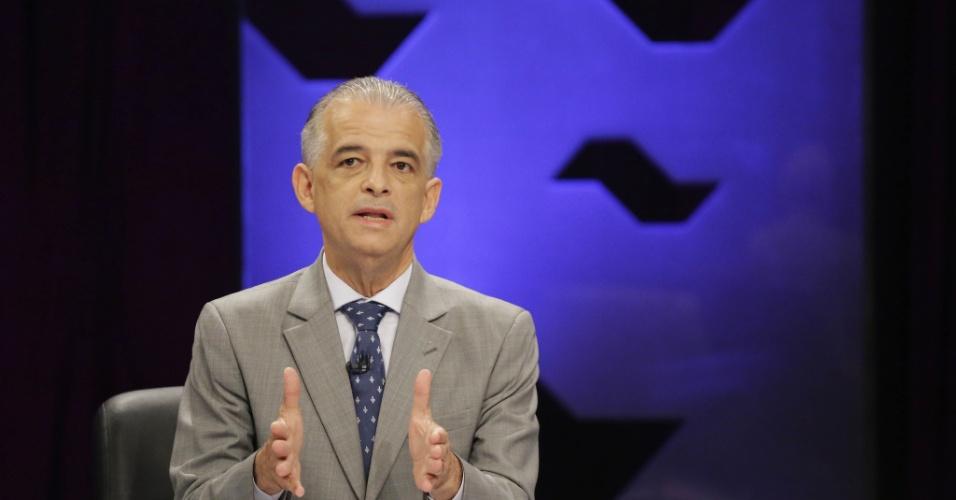 23.out.2018 - Márcio França (PSB) durante o debate de segundo turno do UOL, Folha e SBT, nesta terça-feira (23), nos estúdios do SBT, em São Paulo