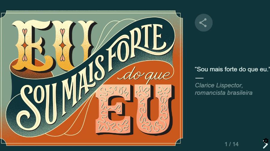 Doodle do Google com frase de Clarice Lispector para o Dia da Mulher - Reprodução/Google