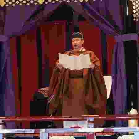 O imperador Naruhito, do Japão, durante cerimônia de coroação - Xinhua