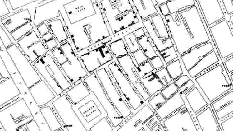 Mapa elaborado por John Snow para investigar surto de cólera no século 19 em Londres - BRITISH LIBRARY - BRITISH LIBRARY