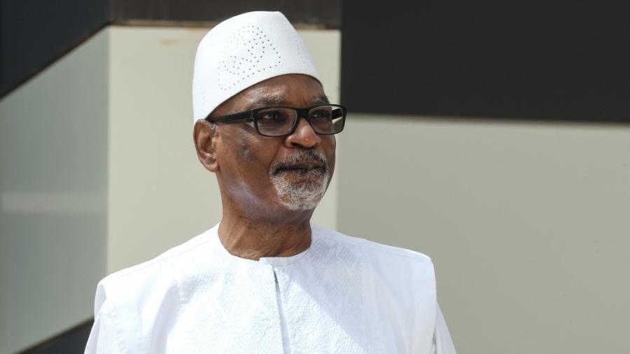 """""""Não quero que sangue seja derramado"""", disse Ibrahim Bubacar Keita em pronunciamento na TV - Ludovic Marin/POOL/AFP"""