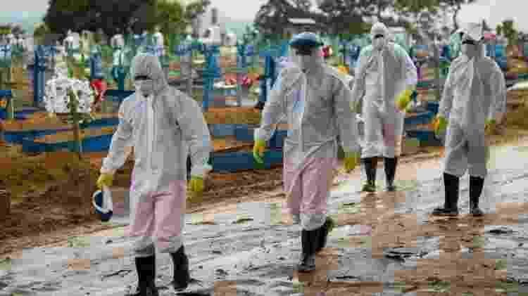 Em 6 de abril, Brasil ultrapassou pela primeira vez a marca de 4 mil mortes por dia pela covid-19 - Getty Images - Getty Images