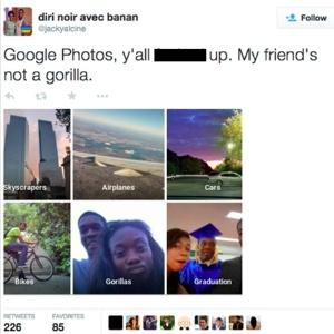 """Um problema no aplicativo Google Fotos do Google identificou pessoas negras como """"gorilas"""" - Reprodução/Twitter/@jackyalcine"""