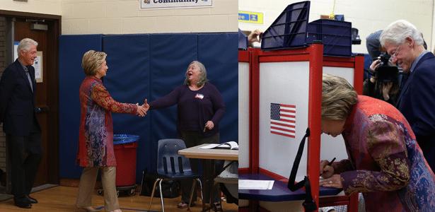 Ao lado do marido, Hillary vota na primária de Nova York - Justin Sullivan/Getty Images/AFP e Mike Segar/Reuters
