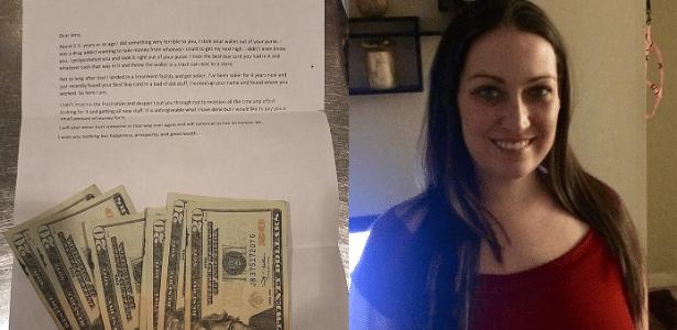 A carta (esq.) com o dinheiro devolvido a Amy Christine (dir.)