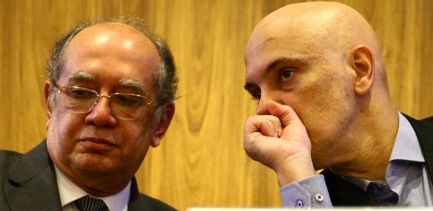 Os ministros do STF Gilmar Mendes e Alexandre de Moraes discutem sobre a reforma política no IDP - Aloisio Mauricio/Fotoarena/Estadão Conteúdo