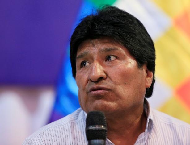 O presidente da Bolívia, Evo Morales, durante conferência em Santa Cruz, na Bolívia
